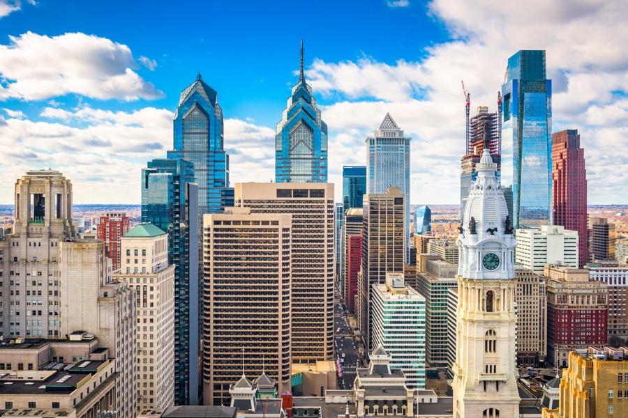 La città di Philadelphia da una prospettiva unica