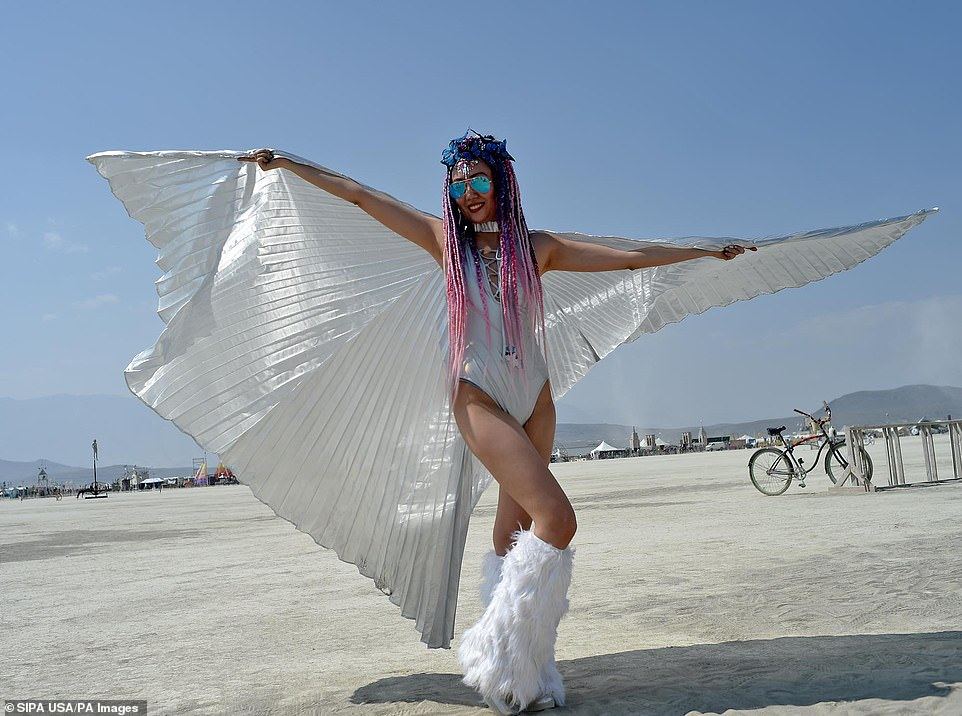 People attending Burning man usually choose, and are encouraged, to wear fun, eccentric outfits during the festival